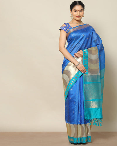 Cobalt blue kora silk saree