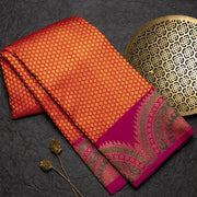 Orange pure kanjeevaram silk saree