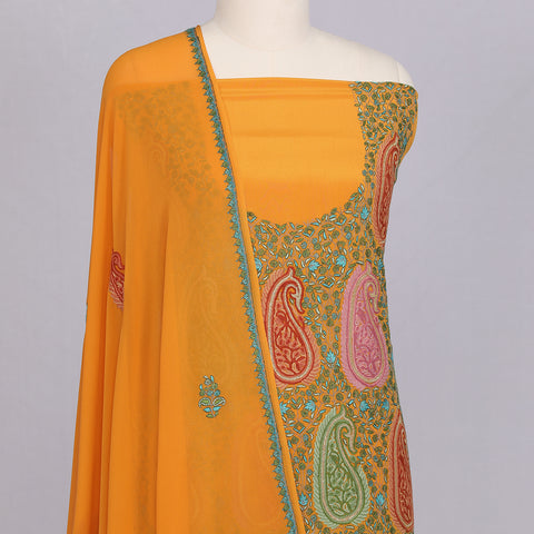 Mustard Yellow pure crepe silk designer unstitched suit