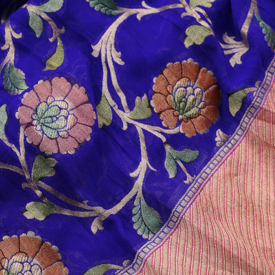 Ultramarine Blue Banarasi Georgette Saree