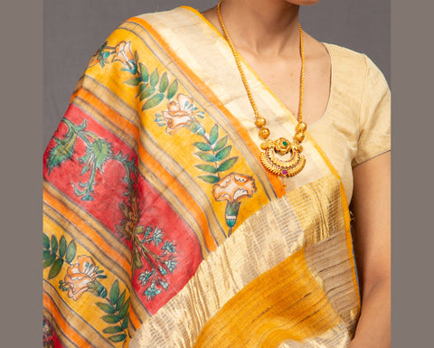 Multicolour digital print tussar silk saree