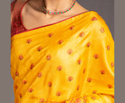 Mustard Yellow tussar silk embroidered saree