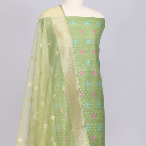 Mint Green Jute silk designer unstitched suit