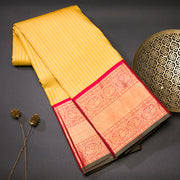 Golden mustard pure kanjivaram silk saree