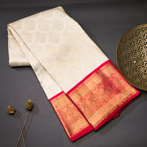 Half white pure kanjeevaram silk saree