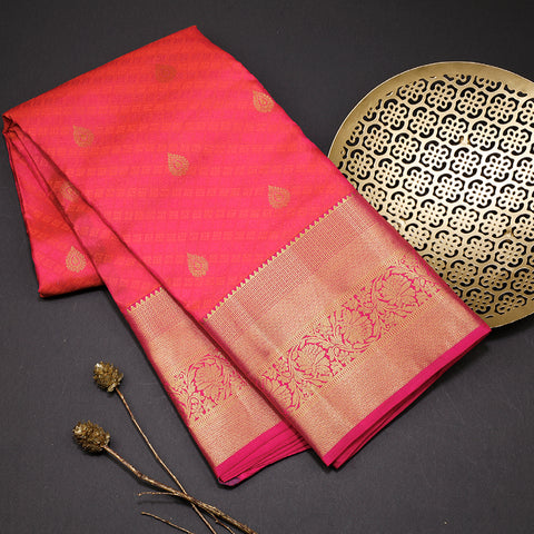 Two tone pinkish orange designer silk saree