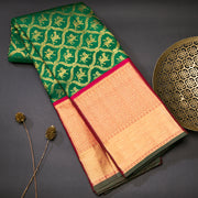 Bottle green pure kanjivaram silk saree