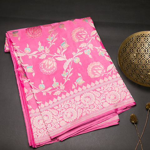 Onion pink pure banarasi silk saree