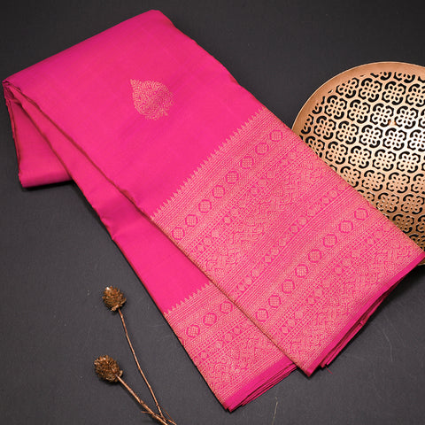 Magenta pink pure kanchipuram silk saree