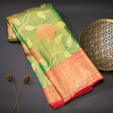 Leaf green tissue kanjivaram silk saree