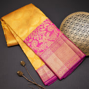 Mustard yellow pure kanchipuram silk saree