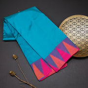 Peacock blue designer silk saree