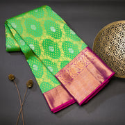 Parrot green pure kanjivaram silk saree
