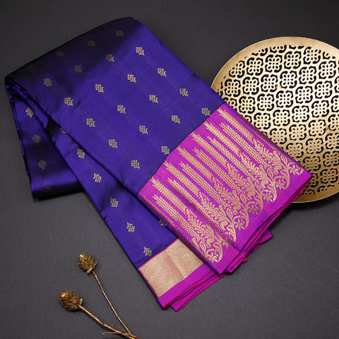 Deep purple designer silk saree