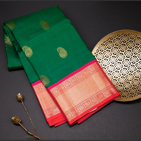 Dark leaf green designer silk saree