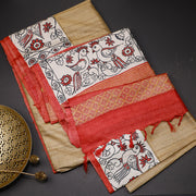 Dark beige pure tussar silk saree by designer Kamaniya