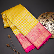Lemon yellow pure kanchipuram silk saree