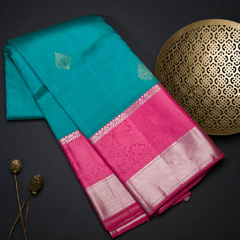Turquoise Blue and Coral Pink pure Kanchipuram silk saree