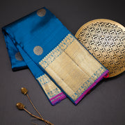 Two tone royal blue pure kanchipuram silk saree