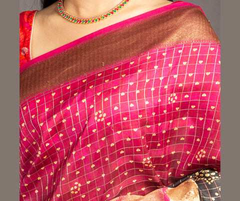 Magenta Pink digital print pure soft tussar silk saree