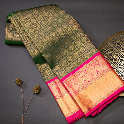 Bottle green kanjivaram silk saree