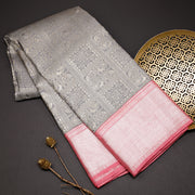 Silver grey pure kanchipuram silk saree