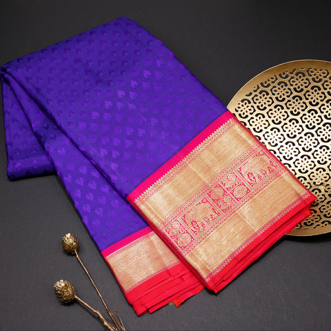 Royal blue designer silk saree