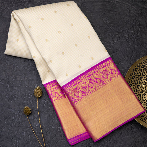 Cream pure Kanjeevaram silk saree with magenta border