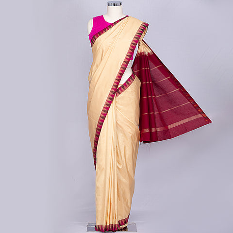 Cream Bangalore pure silk saree