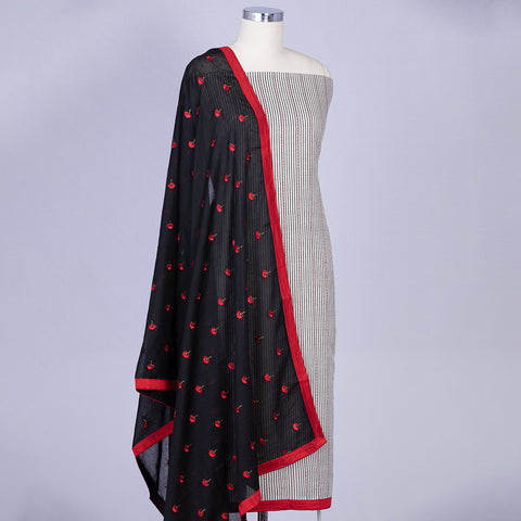 Off-white unstitched chanderi cotton suit