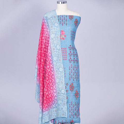 Light Turquoise blue unstitched chanderi silk suit