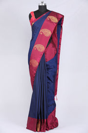 Navy blue art silk saree