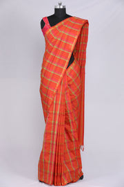 Orange colour art silk saree