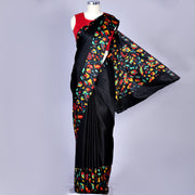 Jet black pure silk satin crepe saree