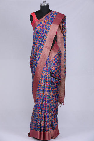 Ink blue, ikkat print dupion silk saree