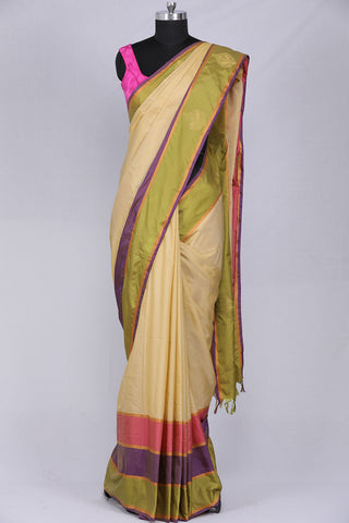 Cream coloured Art silk saree