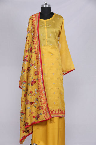 Mustard yellow chanderi silk semi stitched suit material