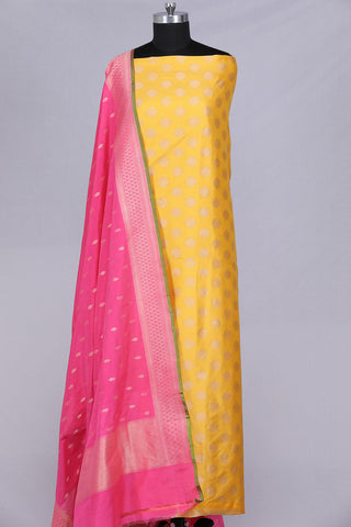 Yellow pure silk unstitched salwar suit