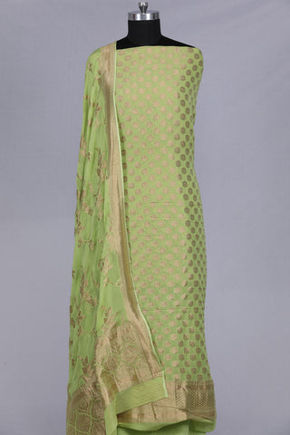 Light parrot green banarasi georgette unstitched suit material