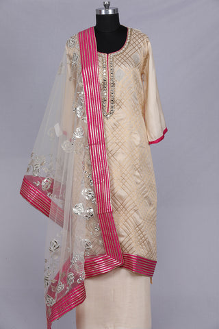 Ivory chanderi silk semi stitched suit material