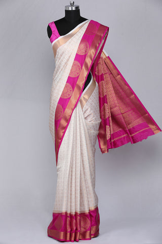 Cream coloured art silk fancy saree