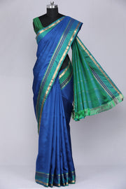 Dark blue pure kanjeevaram silk saree