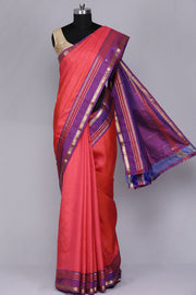 Peachish orange pure kanjeevaram silk saree