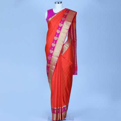Orange pure handloom silk saree