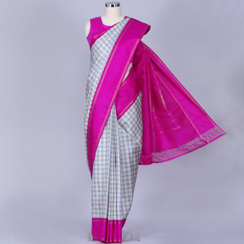 Light blue and white checkered kanjivaram silk saree