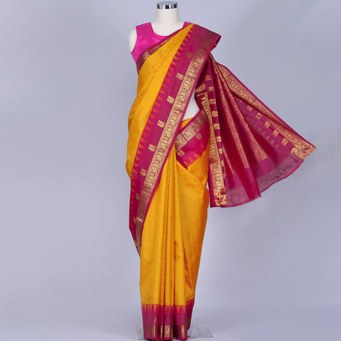 Mustard yellow pure handloom silk saree