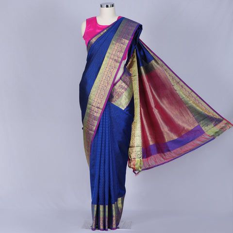 Cobalt blue designer silk saree