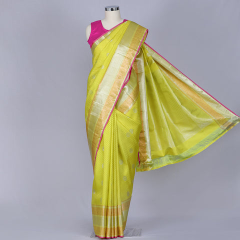 Lime green pure handloom silk saree