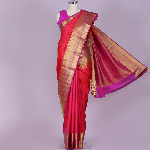 Two tone pinkish orange designer pure silk saree