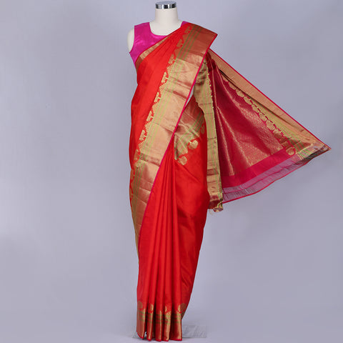 Orange designer silk saree